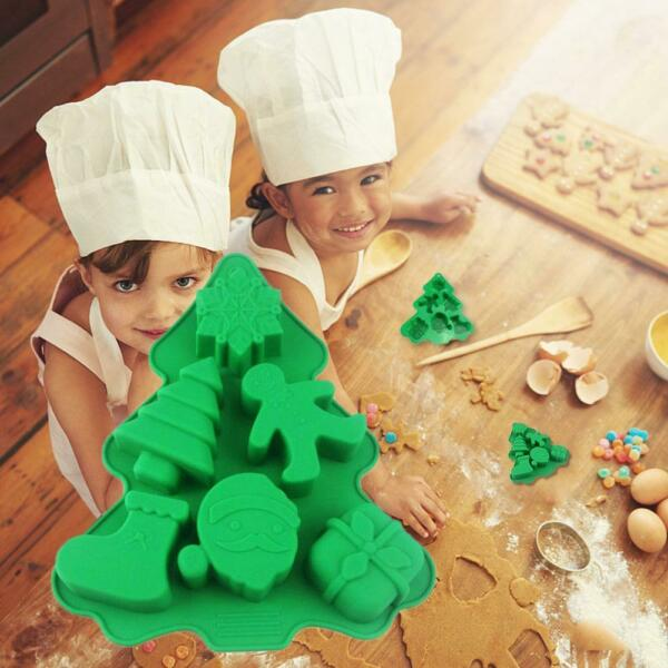 6 Holes Christmas Tree Silicone Mold Fondant Chocolate Tools Baking Decor M R2X0