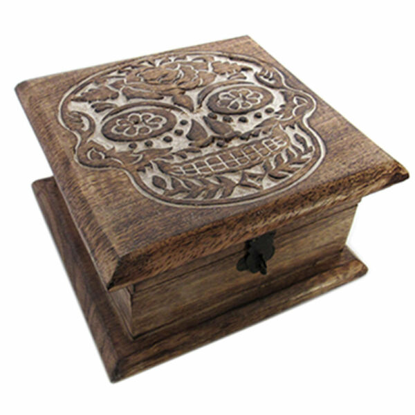 NEW Day of the Dead Carved Wood Box 6quot; Square Sugar Skull Trinket Chest Handmade