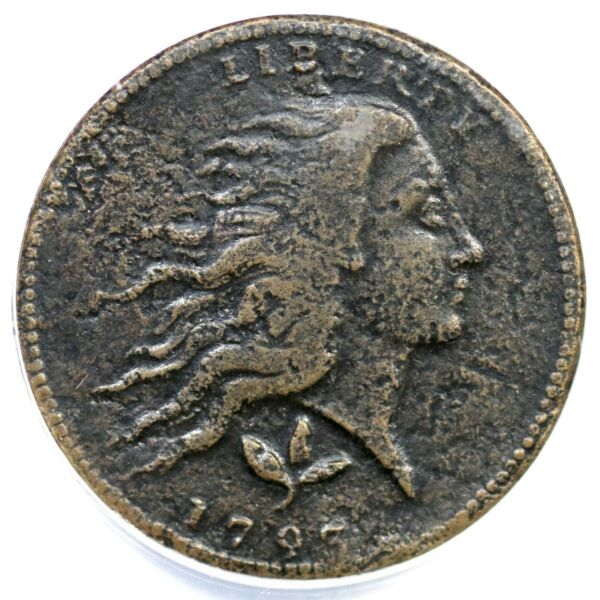 1793 S-7 R-6- ANACS F 12 Details Wreath Large Cent Coin 1c