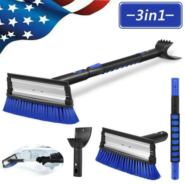 Extendable Ice Scraper Snow Frost Removal w Brush For Car Truck SUV Windshield