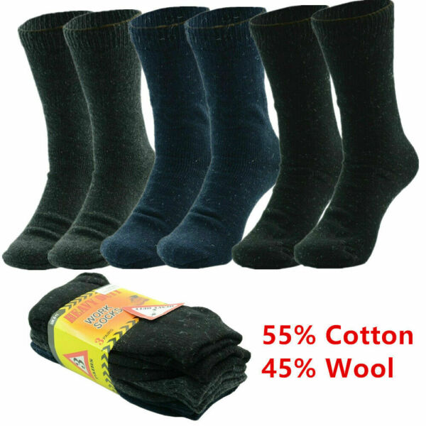 3 12 Pairs Winter Men Heavy Duty Thermal Heated Warm Work Socks Boots Size 10 13 $10.88