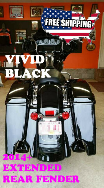 US Stock! Vivid Black Stretched Rear Fender Extension Fit 2014-19 Harley Touring