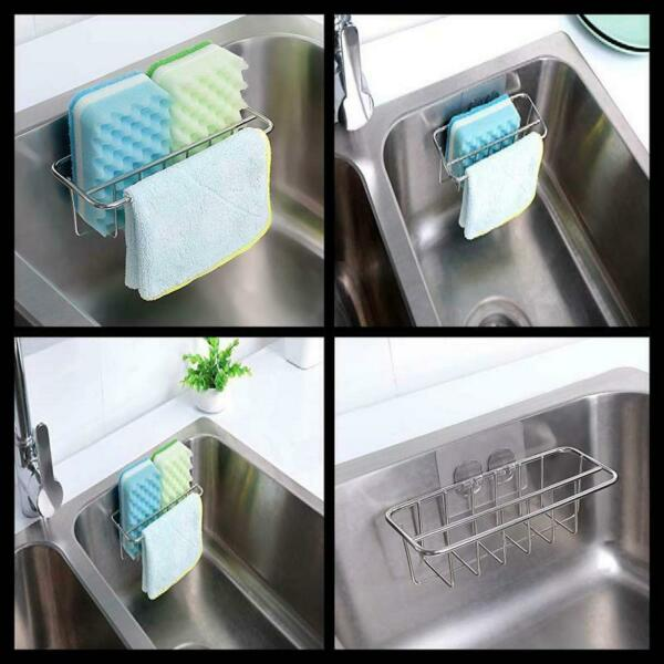 Rust Water Proof Adhesive Sponge Holder Dish Cloth Hanger bath Sink Caddy NEW
