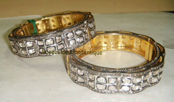 CHRISTMAS SELL LATEST DESIGN ANTIQUE ROSE CUT 13.06CT DIAMOND & POLKI BRACELET