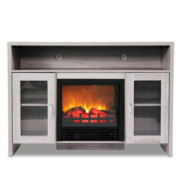Fireplace TV Stand Wood Storage Media Console Electric Heater for TVS up to 43
