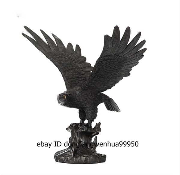 Chinese Pure Bronze auspicious falcon Eagle Hawk shikra Bird Animal Sculpture