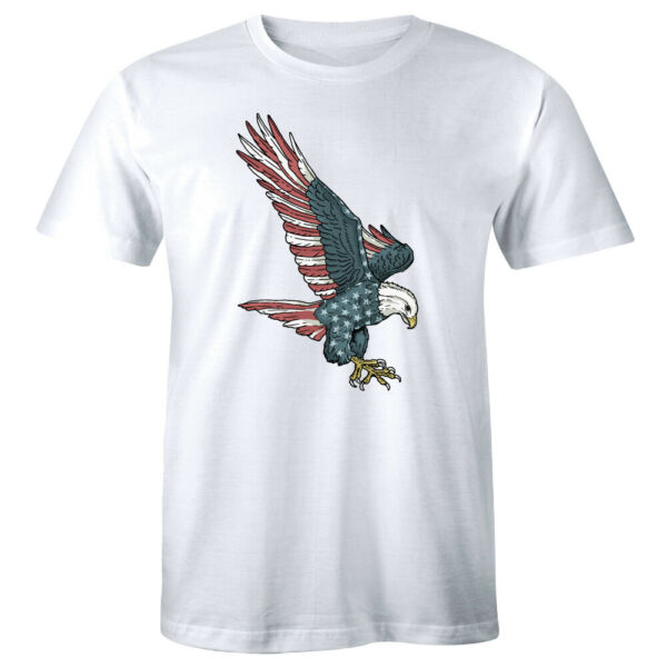 American Eagle Flag Short Sleeve T Shirt for Men Patriotic Gift Tee