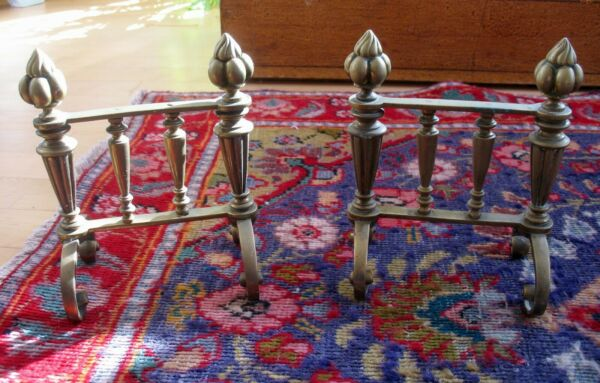 """Two Antique Victorian Brass Fire Dogs Flame Motif 8"""" Fireplace ToolsPoker Rest"""