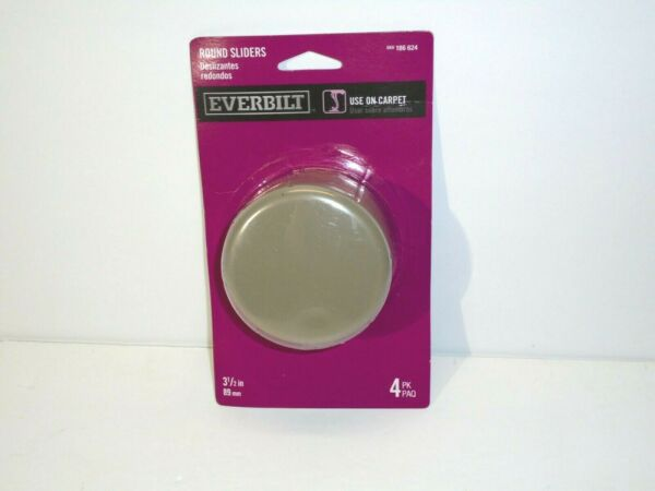 Everbilt Round Furniture Sliders Movers Use On Carpet 4 Pack NEW 3.5quot; Tan $9.99