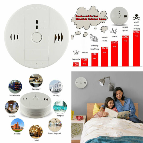 Shackcom Combination Smoke and Carbon Monoxide Detector Alarm Battery Operated $15.49