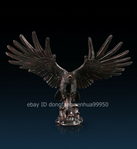 Chinese pure Red Copper Auspicious wing falcon shikra eagle hawk Bird sculpture