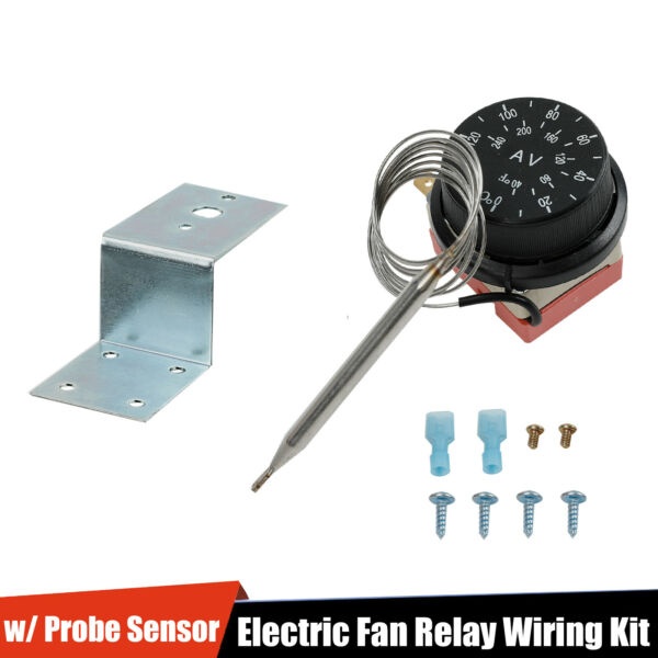 Adjustable Electric Fan Thermostat Switch Radiator Temperature Control Probe Kit