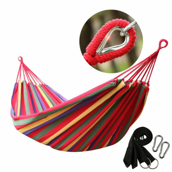 Double 2 Person Cotton Rope Hanging Hammock Swing Camping Canvas Bed w Straps $18.96