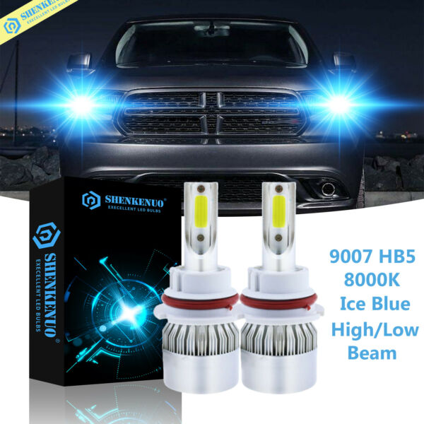LED Headlight 9007 HB5 8000K Ice Blue HiLow Bulbs for Dodge Durango 1998-2003