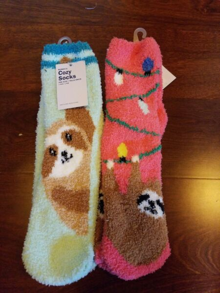 2 Sloth Fuzzy Cozy Socks - Women's - Sloths - Old Navy - New with tags