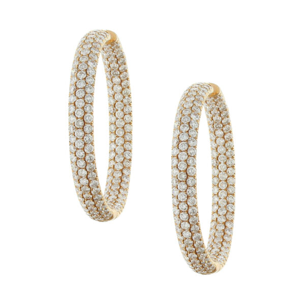 Magnificent Pave Round Diamond Hoop Inside-Out Earrings 18K Rose Gold 9.50ctw
