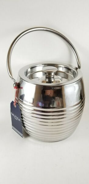 Nautica Home Stainless Steel Ice Bucket Ice Pail With Lid Portable.. New