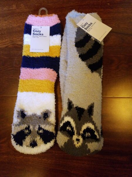 2 Raccoon  Fuzzy Cozy Socks - Women's - Racoon Raccoons Old Navy -New with tags