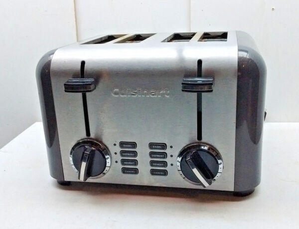 Cuisinart 4 Slice Toaster Brushed Steel Bagel Reheat Defrost Cancel CPT240TN