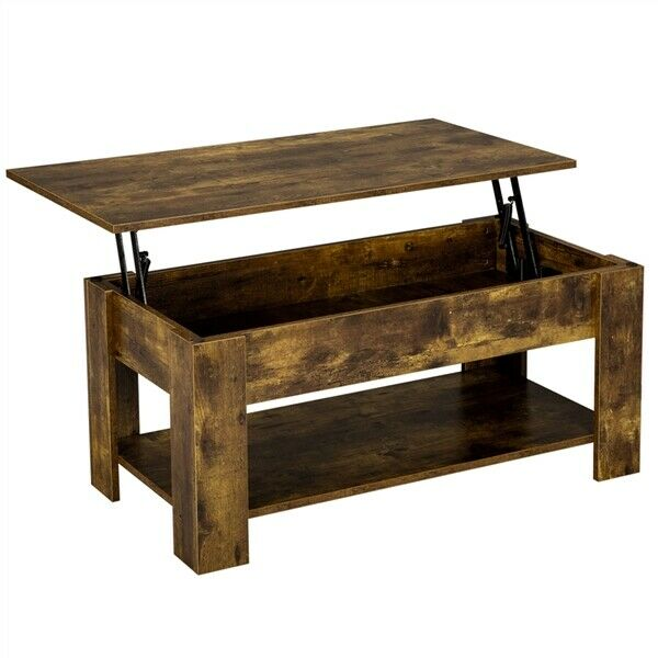 Rustic Lift Top Coffee Table w Hidden Compartmentamp;Storage Shelf For Living Room