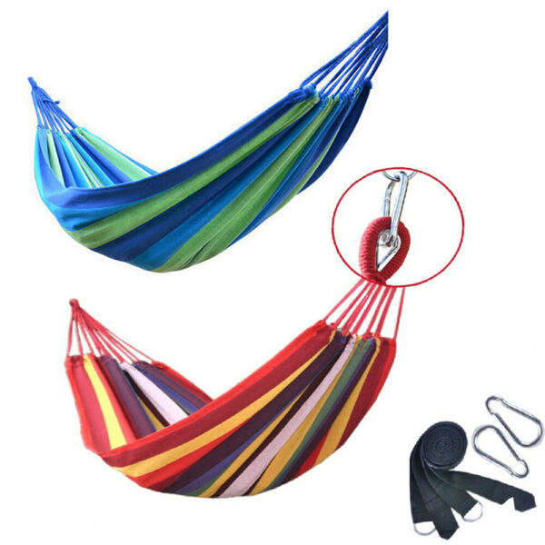 Portable Cotton Rope Camping Swing Bed Hammock Outdoor Travel Yard Hanging Bed $16.79