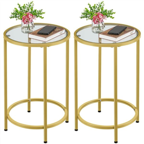 2pcs Bed Sofa Side End Tables Nightstand with 2-Tier Storage Shelves Living Room