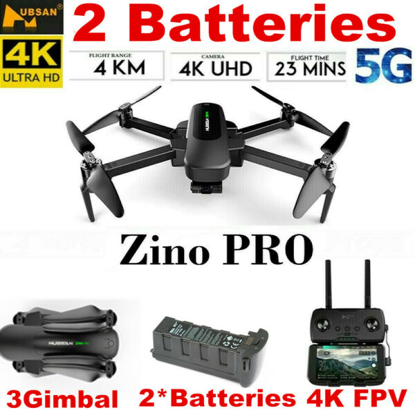 Hubsan Zino PRO 4.5KM 5G Wifi FPV Quadcopter DRONE W/4K Camera 3Gimbal+2Battery