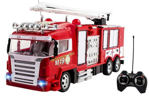 RC Fire Truck Remote Control Large Kids Toy Full FunctionRechargeableFiretruck
