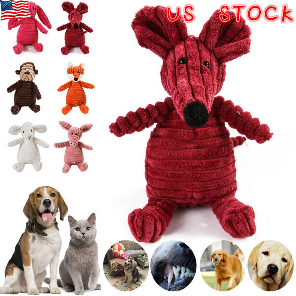 US Xmas Soft Pet Puppy Chew Play Squeaker Squeaky Cute Plush Sound For Dogs Toy~