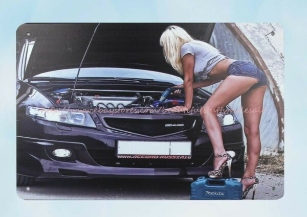 sexy women car checking metal tin sign wall decoration store