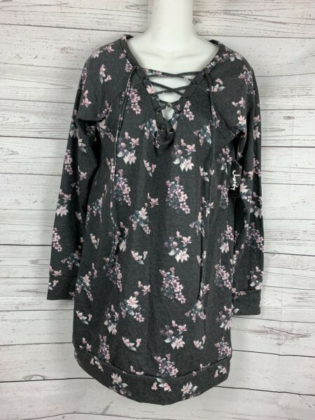 JUSTIFY  Size M  FLEECE KNIT TUNIC TOP  GRAY Floral - Raglan Sleeves - Laces Up $12.46