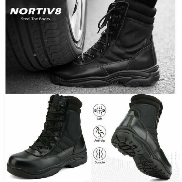 NORTIV 8 Men's Steel-Toe Safety Work Boots Anti-Slip Military Tactical Boots US