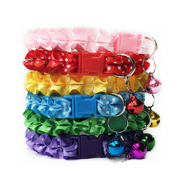 Lovely Cat Dog Lace Collars With Bell Adjustable Buckle Collars Cat Pet Supplies $0.99