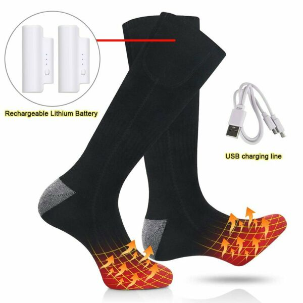 Electric Heated Socks Rechargeable Battery 3.7V 2200mAh Foot Warm For Skiing