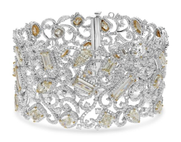 EXTRA LARGE 36.39CT DIAMOND 18KT 2 TONE GOLD MULTI SHAPE FILIGREE CUFF BRACELET