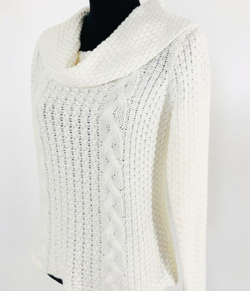 Chicos Size 1 Womens Cable Knit Sweater Cowl Neck Ivory Long Sleeve