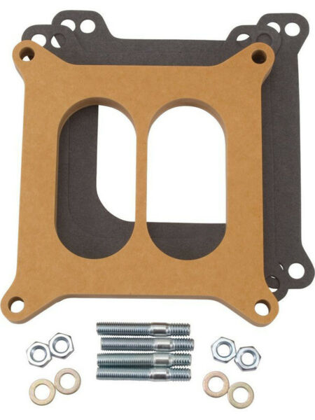 Edelbrock Carburetor Spacer 1 2 in Thick Divided Wall Square Bore Wood N… 8725 AU $84.52