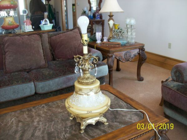 Lamp Vintage Elegant Large Table Style Gold With Scroll & Lace Work Electric
