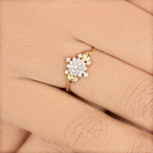 21x10x18 MM Solid 14K Yellow Gold Pave Diamond Cluster Ring