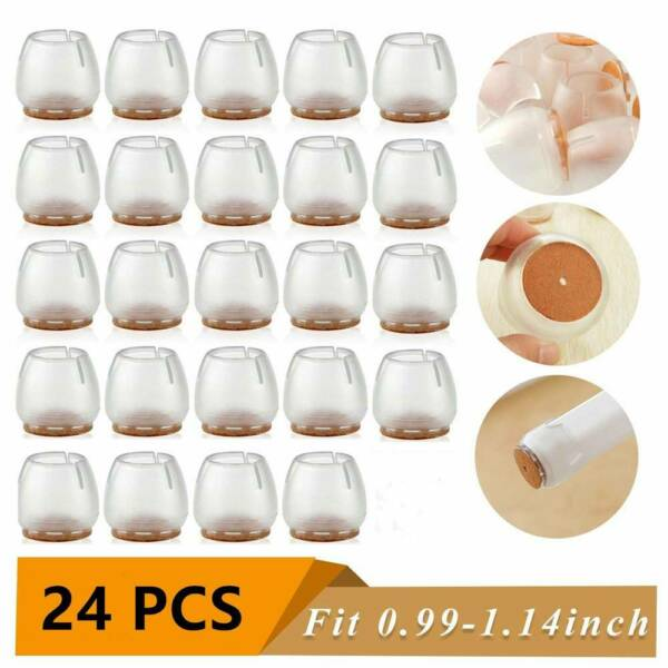 24 pcs Chair Leg Caps Round Silicone Pads Floor Protectors Furniture Feet  USA