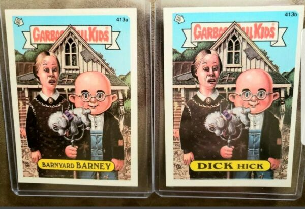1987 Garbage Pail Kid Cards #413ab Barnyard BARNEY & DICK Hick ~MINTAUTH CARDS