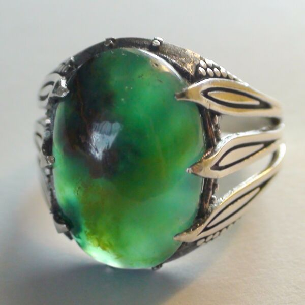 RARE! 16.60 ct NATURAL GEM SILICA CHRYSOCOLLA  RING 925 STERLING SILVER.11.5