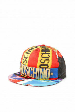Moschino Women's hat stretch viscose Lettering Logo red baseball cap