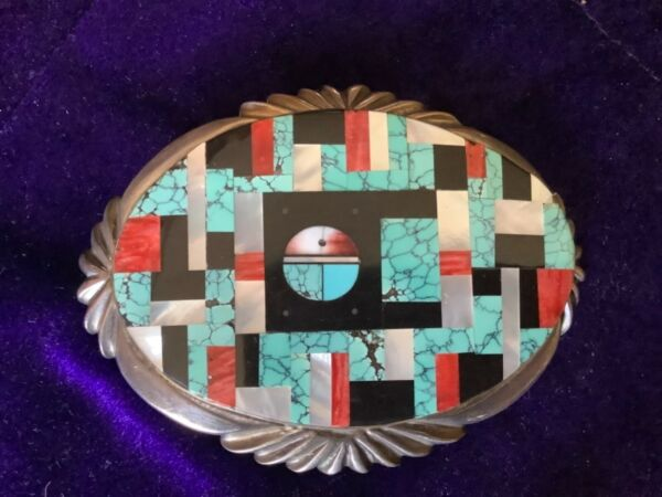 SIGNED AY YELLOWHORSE ? STERLING SILVER MOSAIC SUNFACE INLAY BELT BUCKLE 96 GRAM