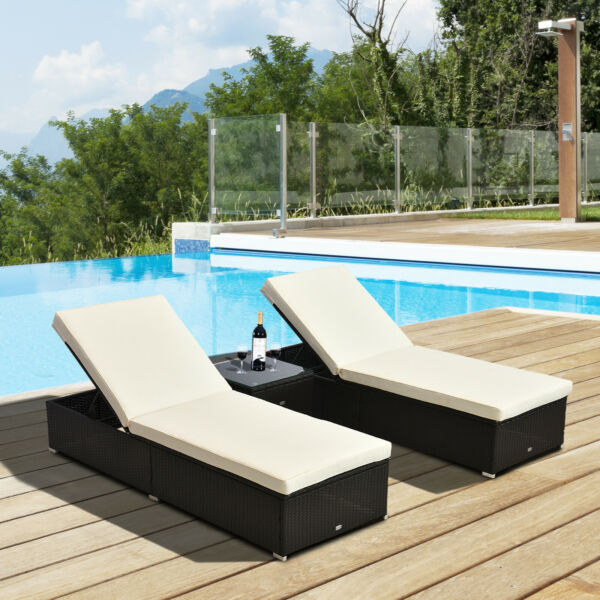 3PC Outdoor Cushioned Rattan Wicker Chaise Lounge Sofa Couch Patio Furniture Set $349.99