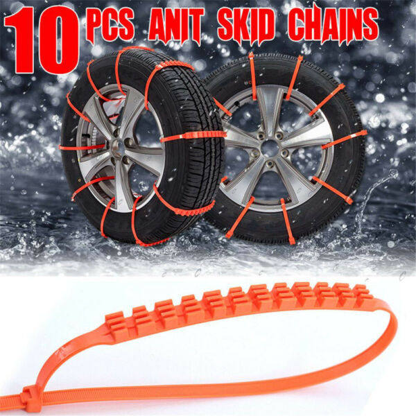 10PCS Car Truck Snow Anti-Skid Wheel Tire Chains Anti-Slip Belt Orange Best