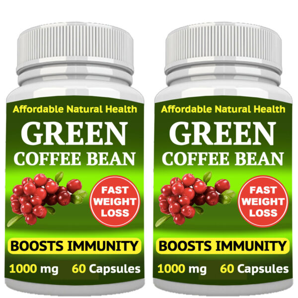 2 GREEN COFFEE BEAN EXTRACT SUPPLEMENT 1000mg CAPSULES WEIGHT LOSS FAT BURNER