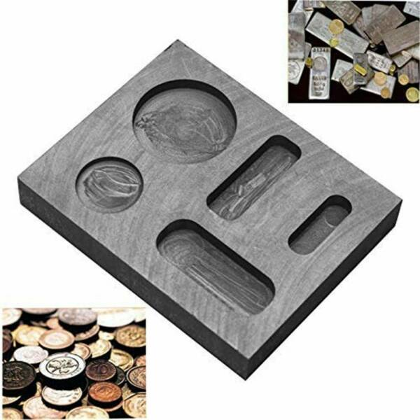 Gold  Silver Melting Ingot Mould Bar Square Graphite Crucible Round Coin Mold