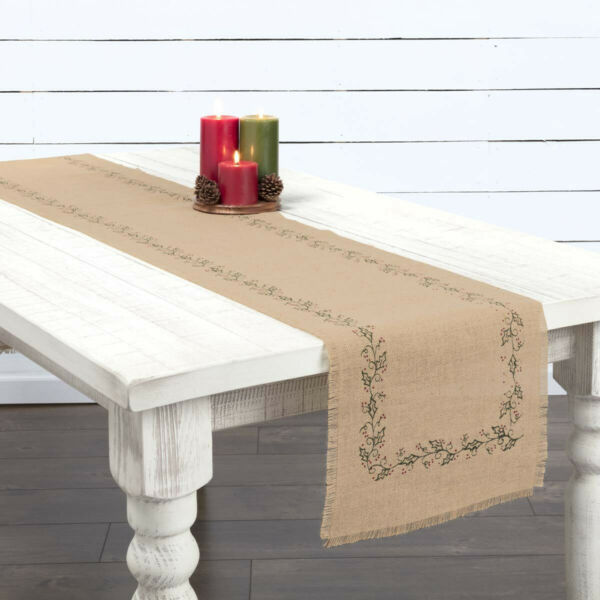 Jute Burlap Ivy Table Runners amp; Place Mats Natural Green Red Holly Berries