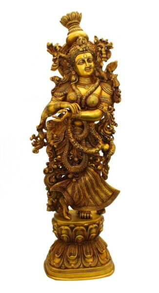 Brass hindu goddess radha statue antique idol religious india décor 29